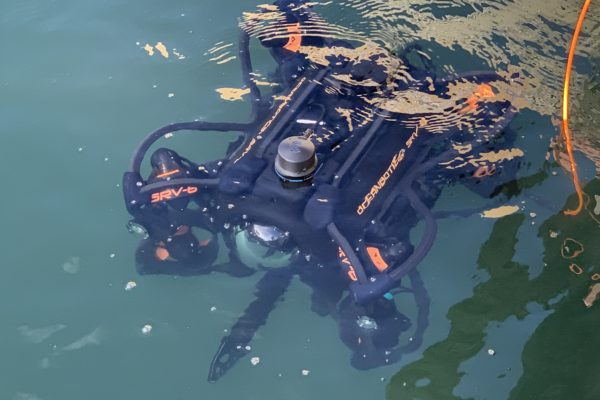 Oceanbotics™ SRV-8 floating on surface of water
