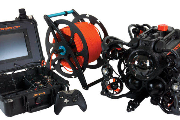 Oceanbotics™ SRV-8 complete system with topside box, reel and tether, ROV