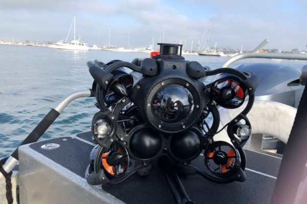 Oceanbotics™ SRV-8 ready to deploy on boat in marina