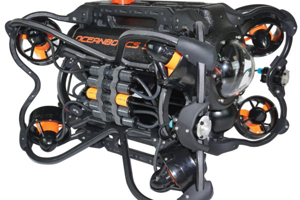 Oceanbotics™ SRV-8 ROV beauty shot with 8 thrusters, two lights and camera showing
