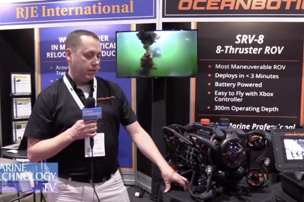 SRV-8 remotely operated underwater vehicle at tradeshow