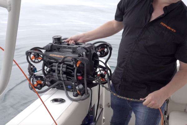 SRV-8 remotely operated underwater vehicle ready to deploy on boat