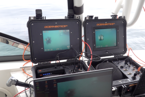 SRV-8 remotely operated underwater vehicle topside box view on boat