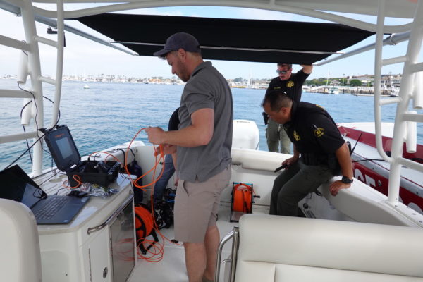 Oceanbotics™ team testing SRV-8 for search and recovery with sheriffs department