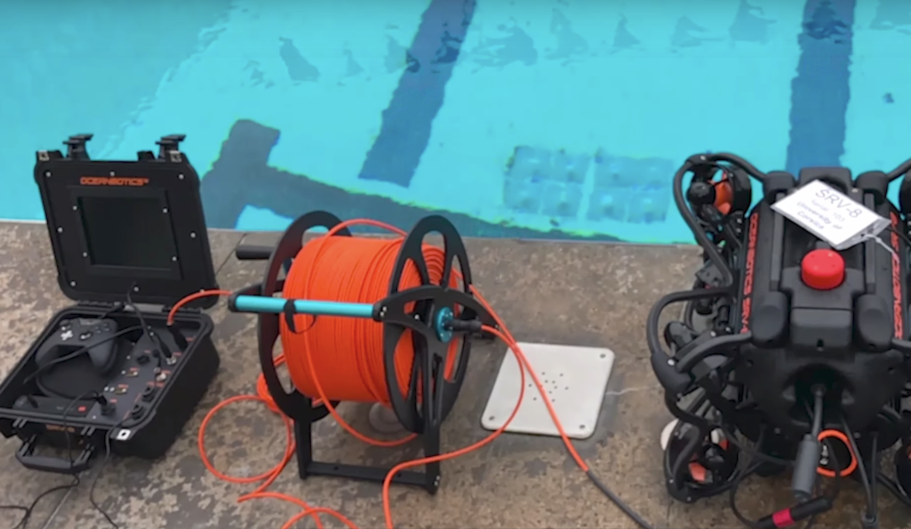SRV-8 remotely operated underwater vehicle system setup