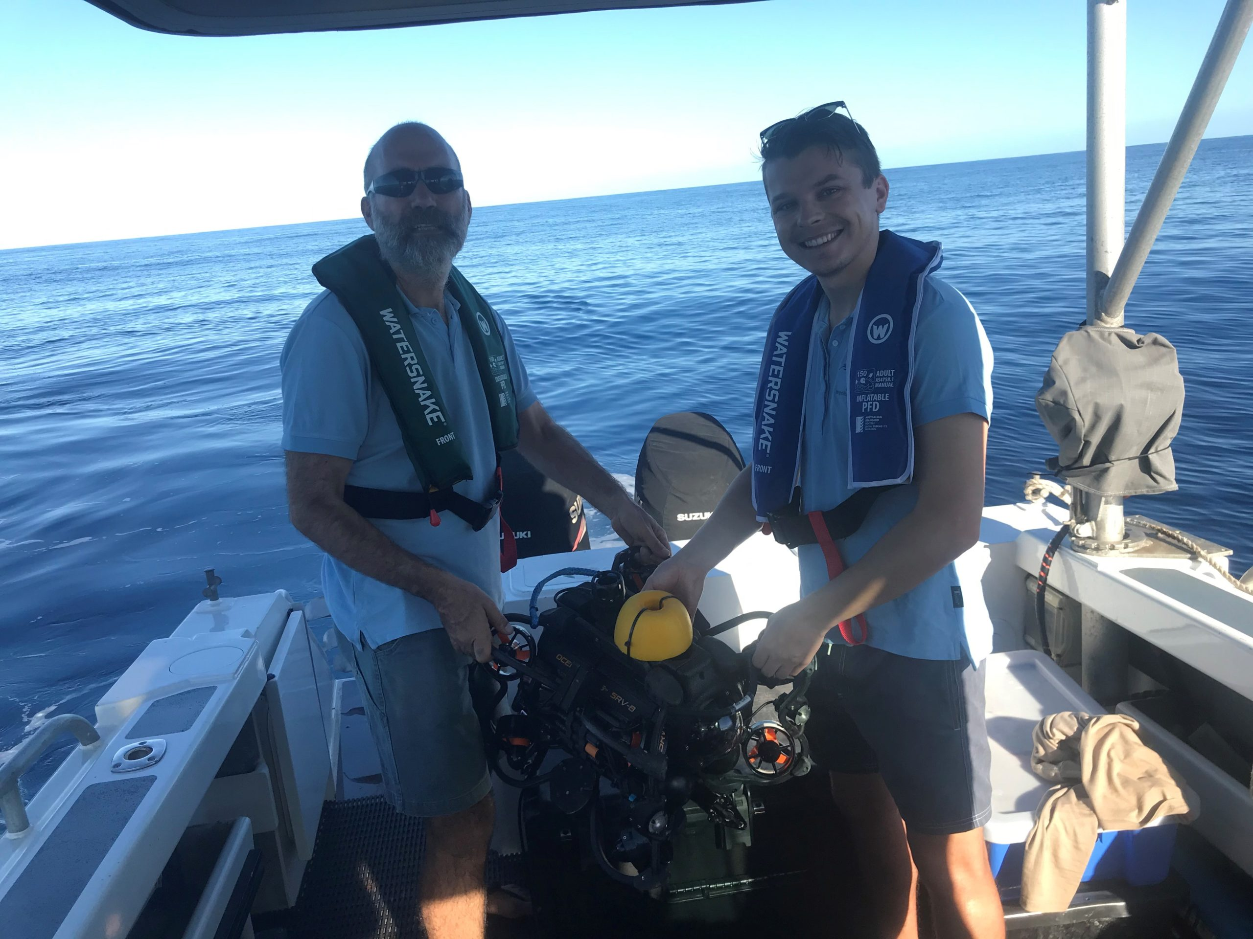Meet Logan Hellmrich (right), pictured here with CSIRO Research Officer Nick Mortimer! Logan is a PhD student who is looking to understand more about Ningaloo's deepwater habitats.